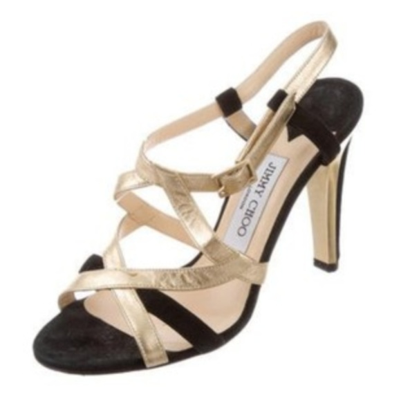 e9a5fa5bb6 Jimmy Choo Shoes - Jimmy Choo Strappy Metallic Sandal Pump Black Gold